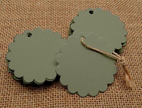 100 Stück Scalloped Blank Hochzeit Hang Tag Bonbonniere Favor Lolly Tasche Geschenkanhänger Mit Jute Twines - Farben Erhältlich Scalloped Hängen