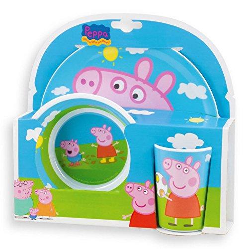 MWS2433 123175 Stoviglie in melamina con motivo di Peppa Pig, kit di 3 (Bambino Piatti Per Casa)