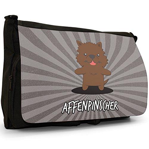 Tedesco Cartoon cani grande borsa a tracolla Messenger Tela Nera, scuola/Borsa Per Laptop Affenpinscher, Monkey Dog