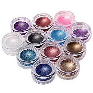 FACILLAu00ae 12 Farben Glitter Nagel Pulver Puder Glitzerpulver Nagelpulver Nagelpuder UV Gel ...