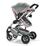 Sillones de paseo Vista alta Cochecito de bebé Multifunción Siéntase Bifurcado Tracción en las cuatro ruedas Trolley plegable para niños (Color : Pink)