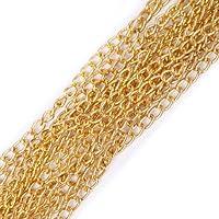 ILOVEDIY 5/100m Chaîne maille maillon Chaîne métal chainette pour Création de bijoux (5 mètres, doré )