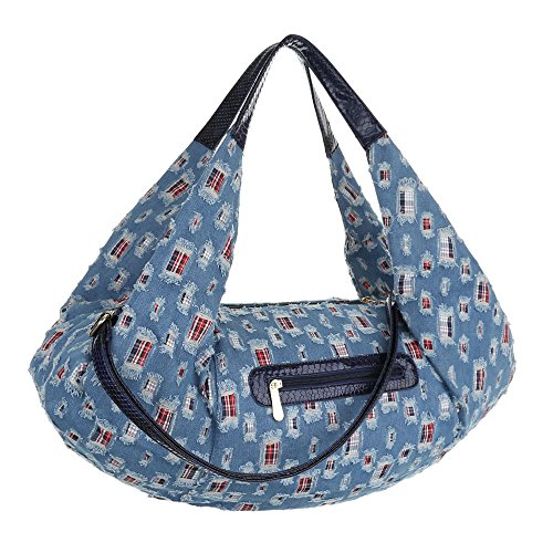 Damen Shopper Damen Schultertasche Tragetasche Handtasche Schwarz Blau Blau