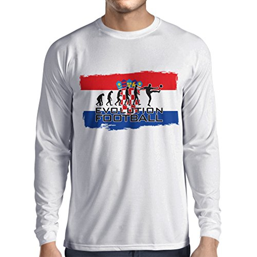 N4481L T-Shirt mit langen Ärmeln Evolution Football - Croatia (Large Weiß Mehrfarben) (Chad T-shirt Flag)