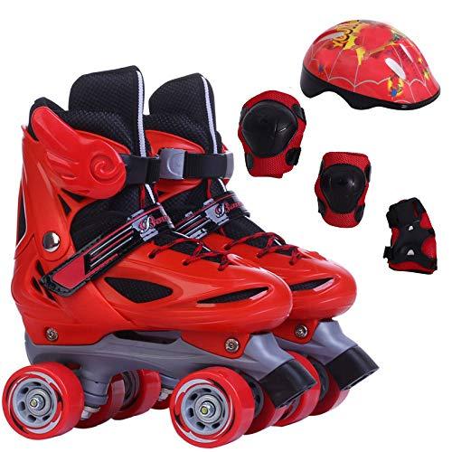 SKATES Kinder zweireihige Schlittschuhe Sicherheit Schlittschuhe Schlittschuhe Jungen und Mädchen glatte Schuhe Protektoren Verstellbar Outdoor-Sportarten (Farbe : RedA, größe : M)