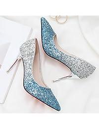 Métal élégant avec pointe fine et légère à talons hauts Nez Damas graphique mince Unique Chaussures Chaussures de mariage, Jaune, 38