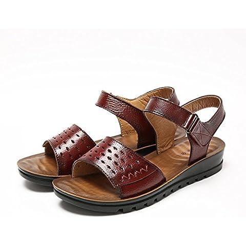 LYF KIU sandali in pelle piatti con fondo morbido/ Xia Jiping scarpe buco in basso/Antiscivolo scarpe