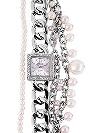 brèda Mujer Analog Reloj de pulsera con mecanismo de cuarzo 100425500134y carcasa de metal con cadenas de metal brazalete y cierre clip total longitud 19cm pulsera ancho 36mm
