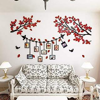 Alicemall 3D Wandaufkleber Rot Blätter Stereo Wandaufkleber Abnehmbare Wohnzimmer Schlafzimmer Kinderzimmer Sofa Hintergrund Wandtattoo Möbel 150 x 86 cm