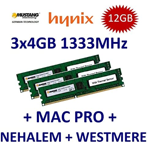 12 GB Triple Channel Kit Mustang/Hynix 3 x 4 GB DDR3 1333 mhz PC3-10600E 240 (Ecc Unbuffered Dimm A 240 Pin)