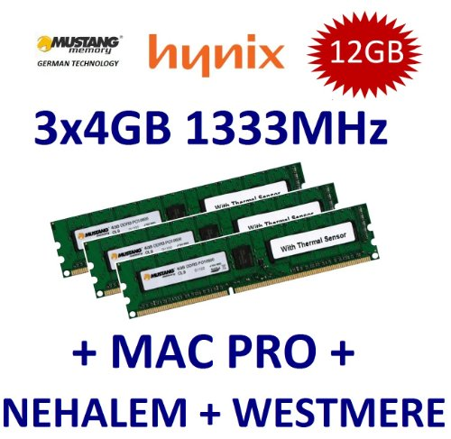 12GB Triple Channel Kit Mustang / Hynix 3 x 4GB DDR3 1333Mhz PC3-10600E 240pin, ECC Unbuffered, 256Mx8 18 Chip, Dual Rank, DIMM, 1.5V, CL9 with Thermal Sensor für Apple MacPro 2009 + 2010 4.1 5.1 und -