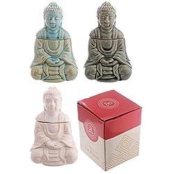 PRECIOSO Brillante Cerámica Buda Tailandés Sentado QUEMADOR DE ACEITE Tres Diseños PDS