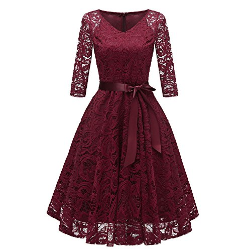 KPILP Women Dress Lace Cocktail V-Neck Party Elegant 3/4 Sleeve Cocktailkleide Formal Swing Vintage Princess Floral (Weinrot,EU-38/CN-S - Womens Cocktail-anzüge
