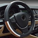 Semoss Universal Antideslizante Funda Volante Piel Genuina Cubre Volante Cuero Cubierta Volante Coche,Tamaño:M,37-38 cm,Marron