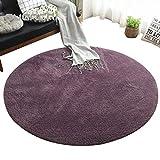 Teppich Haushalt Teppich, Runde rutschfeste Wohnzimmer Sofa Drehsessel Bereich Teppich, Schlafzimmer Bettdecke, Volltonfarbe Waschbar Bodenmatte ( Farbe : Gray-purple , größe : 1m in diameter )