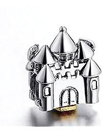 Abalorio de plata de ley 925 con diseño de castillo de Disney, se ajusta a pulseras y collares Pandora y Chamilia