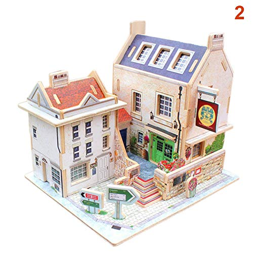 Wellouis 3D Miniatur britischen holzhaus Montage DIY pädagogisches Spielzeug für Kinder Kinder