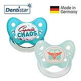 Dentistar® Silikon Schnuller 2er Set inkl. 2 Schutzkappen - Nuckel für Babys Größe 2, 6-14 Monate – Captain Chaos & Bus