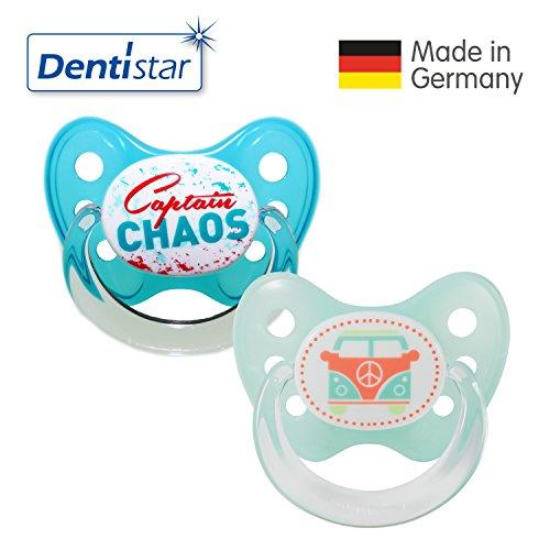 Preisvergleich Produktbild Dentistar® Silikon Schnuller 2er Set inkl. 2 Schutzkappen - Nuckel für Babys Größe 2, 6-14 Monate – Captain Chaos & Bus