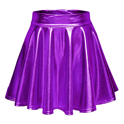 EXCHIC Donna Shiny Metallic Mini-Gonna da Pattinatrice Moda Elastico Svasata Minigonna (S, Viola)