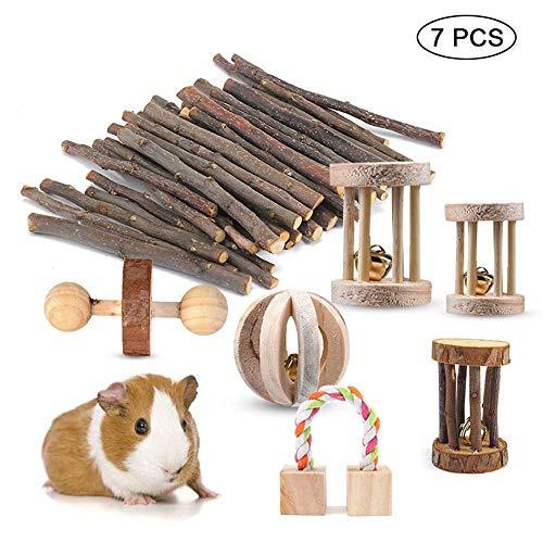 PAWACA Manubri in Legno Naturale Esercizio Bell Roller Denti Cura Molare Giocattolo, Confezione da 7Guinea Pig Toys Chinchilla Hamster Rat mastica Giocattoli Coniglietti, Copertina