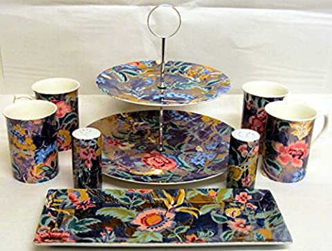 Stardust Tea Coffee Set Exclusive Stardust Sapphire Cobalt 8 Pieces Party Set 1 Cake Stand 4 Mugs 1 Tray 1 Salt 1 Pepper Fine Bone China and Porcelain Set Hand Decorated in the UK Free UK
