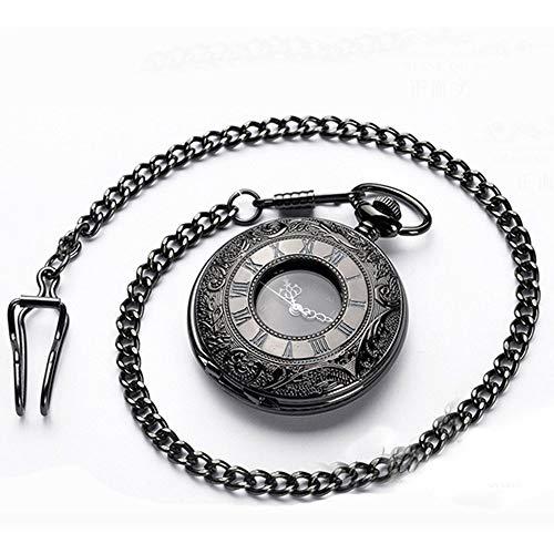 Q store Pocket watch Taschenuhr, Retro-Stil, hohl, Schwarz, für Damen und Herren, Quarz-Taschenuhr