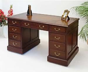 englischer schreibtisch aus mahagoni antik mit echtlederauflage k che haushalt. Black Bedroom Furniture Sets. Home Design Ideas