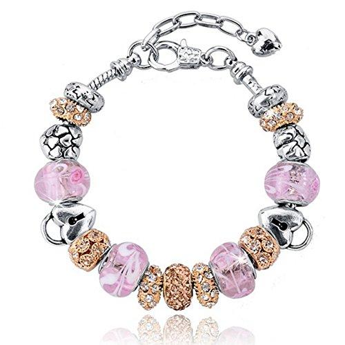 Bracciale donna e ragazza con bead placcato argento con vetro di murano e zirconi - componibile, misura regolabile, compatibile pandora - massima brillantezza, alta qualità - pinklicious con bead