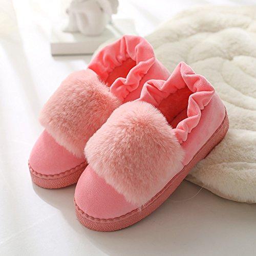 DogHaccd pantofole,Inverno caldo cotone pantofole in camera, spessa antiscivolo pacchetto termale con eleganti scarpe di cotone morbido scarpe di fondo Rosa ghiaccio1