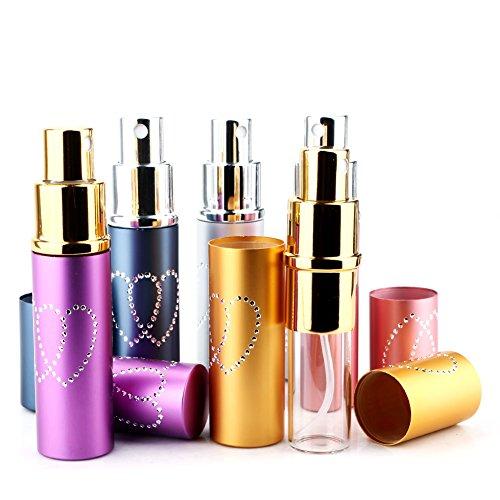 Lot de 6 mini flacons de parfum en aluminium rechargeables avec motif cœurs 10 ml