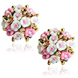 Shining Diva Fashion White Pink Floral Stylish Fancy Party Wear Stud Earrings For Women & Girls(9173er)