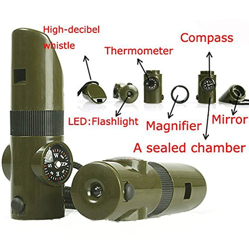 Bluelans® Multifunctional 7 In 1 Plastic Survival Emergency Outdoor Essential Whistle Viewfinder Compass Army Green