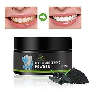 Aiooy Natürliches Aktivkohle Bleaching Zähne Zahnaufhellung Activated Charcoal Teeth Whitening Powder – zur Zahnaufhellung & Zahnreinigung (100g)