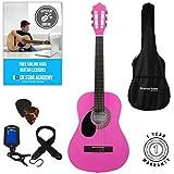 Set chitarra acustica 3/4 per mancini (36'') con corde in nylon, per bambini tre quarti 3/4 36 pollici Rosa