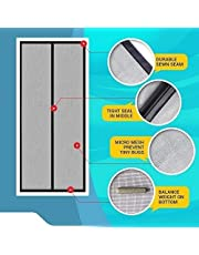 LifeKrafts Mosquito Screen Curtain for Main Doors, Balcony Doors Or Kitchen Doors; Net with Magnets - Black