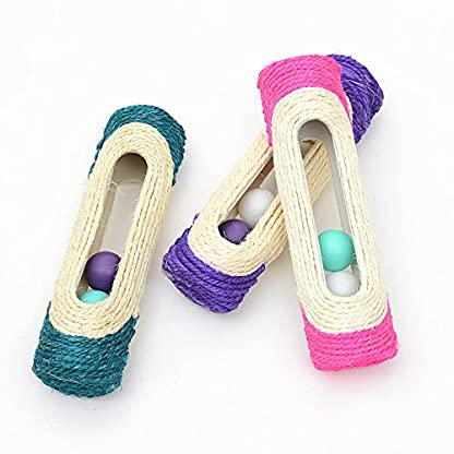 OWIKAR Cat Scratcher Sisal Rope Woven Scratching Barrel Toys with Ball Trapped Ball Training Cat Catch Sisal Post Hollow Column, Pink Purple Green Random Color,1 pack 3