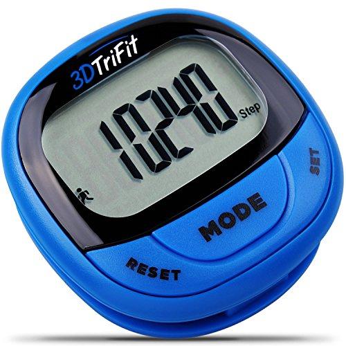 3DTriFit 3D Schrittzähler Aktivität Tracker | Bester Schrittzähler für das Laufen mit Pausenfunktion & 7-Tage-Speicher für Männer & Frauen. Fitness Tracker überwacht präzise Schritte, Kalorienverbrauch, Distanz und Geschwindigkeit. (Blau)