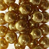 35 x Kunstperle 14mm Perlen Wachsperlen Dekoperlen Bastelperlen mit Loch Kunstperlen, Farbe:gold