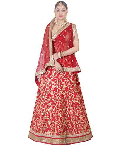 Indian Ethnicwear Bollywood Pakistani Wedding Red A-Line Lehenga Semi-stitched-DIVISL040