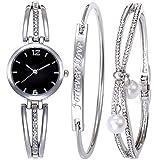 Godagoda Ensemble Cadeau 1 Montre 2 Bracelets Bangles Strass pour Femme Fille Couleur Argent avec Boîte
