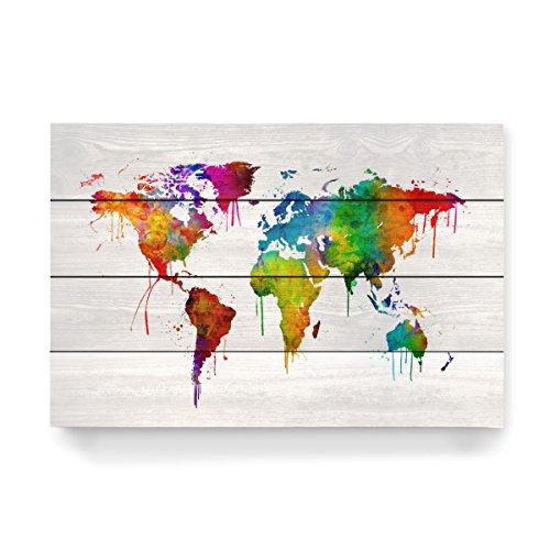 """artboxONE Holzbild 60x40 cm Kartografie """"Watercolor Map of the World"""" von Künstler Michael Tompsett"""