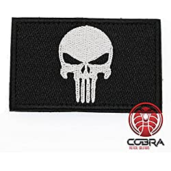 Cobra Tactical Solutions Military Airsoft Morale Patch Parche Punisher Skull Badge white Black Hook Fastener Bordado Gancho