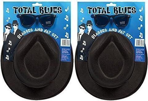 2x Total Blues Soul Band Gangster Hüte & Gläser Fancy Kleid Kostüm Zubehör (Music Man Film Kostüme)