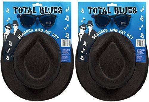 2x Total Blues Soul Band Gangster Hüte & Gläser Fancy Kleid Kostüm (Blue Brille Brothers)