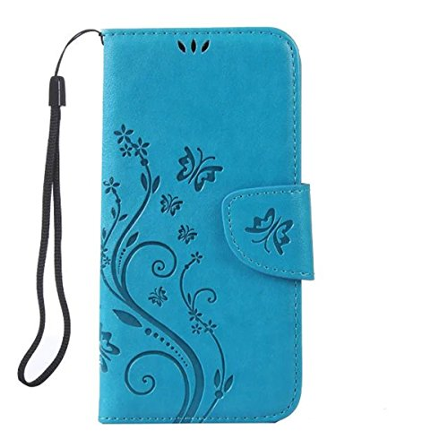 iPhone 6S Plus Hülle Case,iPhone 6 Plus Hülle Case,Gift_Source [Card Slot] Magnetic Closure PU Leder Flower Butterfly Embossed Brieftasche Hülle Case Folio Flip Hülle Case Mit Strap für iPhone 6S Plus E01-02-Blue