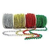 Set 4 Stück Perlenband Perlenkette Perlengirlande Perlenschnur Hochzeitskette Weihnachten Advent Hochzeit Deko Tischdeko (S-P6-4X-SGRG)