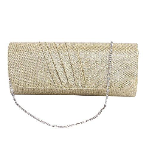 Damara® Party Falten Elegant Damen Handtasche Mit Kette Gold