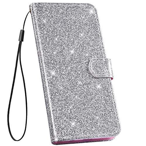 Ysimee Handyhülle kompatibel mit Xiaomi Redmi Note 5A Hülle Leder, [Ledertasche mit BookStyle] Crystal Diamant Tasche Schutzhülle Flip Ständer klapphülle Card Holder Brieftasche, Argent