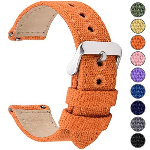 Fullmosa Uhrenarmband 16mm in 8 Farben, Stoff Leinen mit Mattleder Uhrenarmband Uhr Ersatzband mit Schnellverschluss für Mann&Damen,Kürbis-Orange 16mm (Uhrenarmbänder Timex Womens)